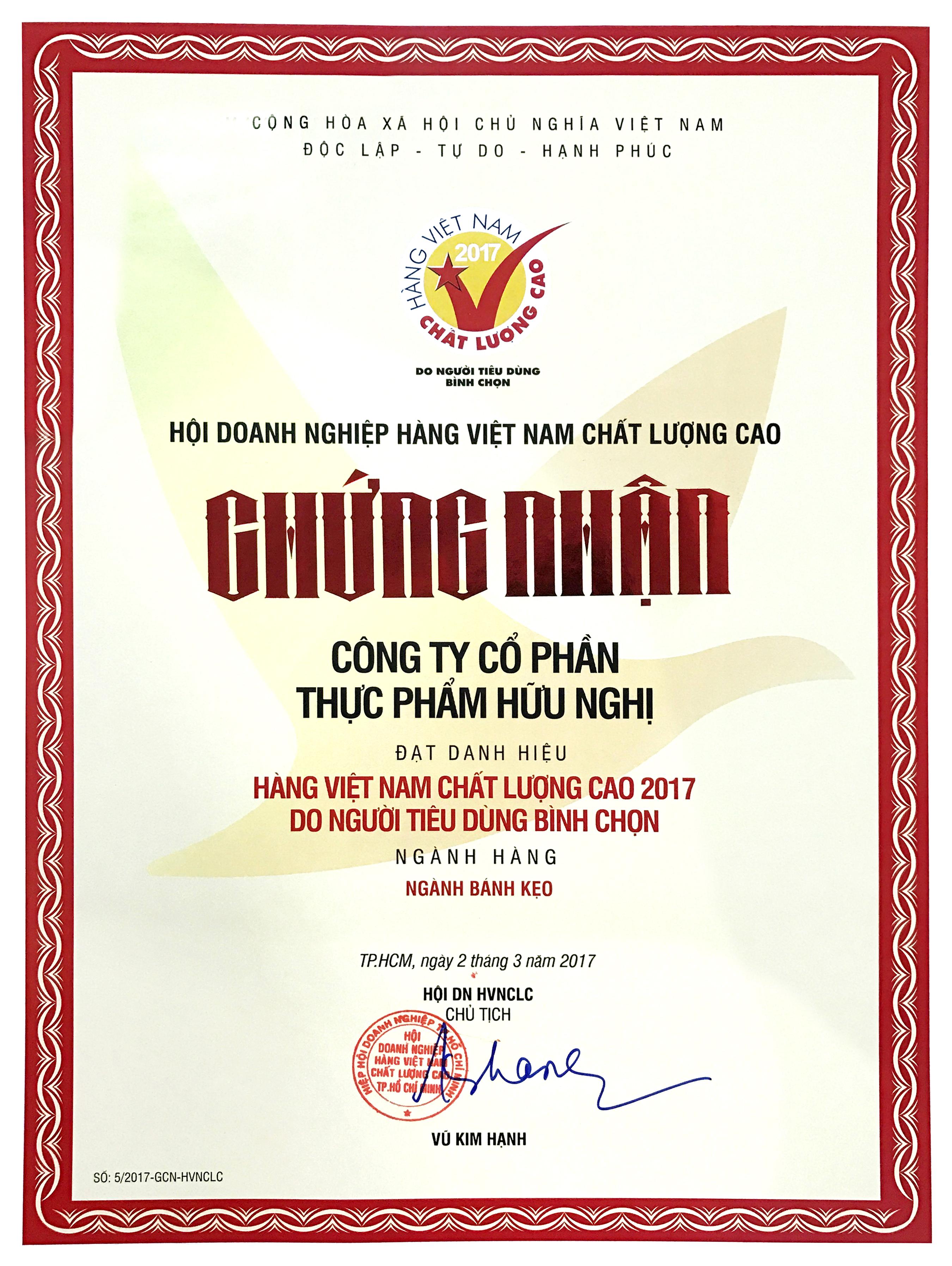 Hàng Việt Nam chất lượng cao 2017